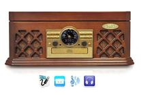 Bluetooth Compatible Classic Vintage Turntable - Retro Vinyl Wood Record Player Speaker System w/ CD Player and Cassette Deck, 3-Speed, AUX, RCA, AM