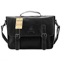 PU Leather Briefcase, Berchirly Vintage Office Laptop