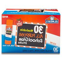 Elmer's All Purpose School Glue Sticks, Washable, 30 Pack, 0