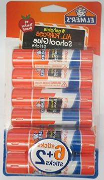 Elmer's Pack of 8 All Purpose Washable Glue Sticks School