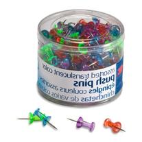 Officemate Push Pins, Assorted Translucent Colors, 200 Count