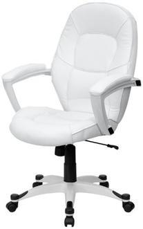 Flash Furniture QD-5058M-WHITE-GG Mid-Back White Leather