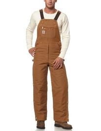 Carhartt Men's Quilt Lined Zip To Thigh Bib Overalls,Brown,