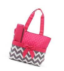 Quilted Hot Pink And Grey/White Chevron Print Monogrammable