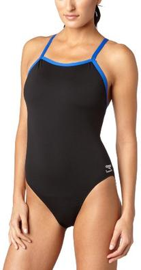Speedo Women's Race Endurance+ Polyester Flyback Training One Piece Swimsuit, Black and Blue, 36