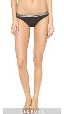 Calvin Klein Women's Logo Cotton Thong Panty, Black, Small