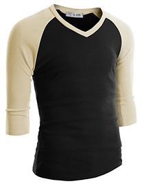 Doublju Mens Raglan Baseball V-Neck 3/4 Sleeve T-shirt,