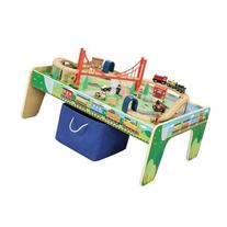 Maxim Railroad Wooden Activity Table with 50 Pc Train Set