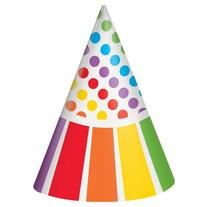 Rainbow Party Hats, 8ct