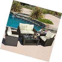 4PC Rattan Sofa Furniture Set Patio Garden Lawn Cushioned