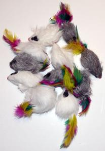 Pack of 12 RATTLING Feather Tail Fur Cat Toy Mice
