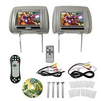"Rockville RDP711-GR 7"" Grey Car Headrest Monitors w/DVD"