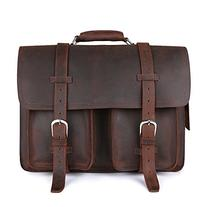 """Kattee XZ340DN-FBA Real Leather 16"""" Laptop Briefcase Large"""