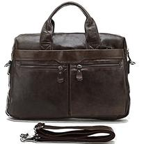 Polare Real Leather Men's Slim Business Briefcase 14''