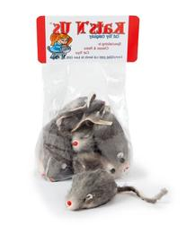 Real Rabbit Fur Mouse Cat Toy - 5 Pak