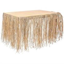9' Real Raffia Grass Table Skirt Luau Hawaiian Party