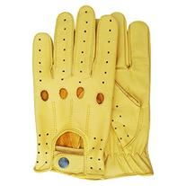 Real Soft Leather Men's Top Quality Driving Gloves Yellow