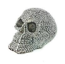 Realistic Replica Human Skull Statue with Silver Stone