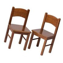 Gift Mark Rectangle Table Chairs - Set of 2 - Dark Wood -