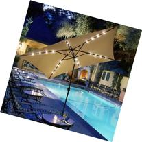 Rectangular Outdoor Umbrella with Solar LED Lights 10' X 6.5
