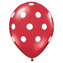 "11"" Red Latex Balloons with White Polka Dots 12 Pack"