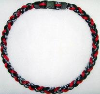 "20"" Red/Black Titanium Sports Tornado Baseball Necklace"