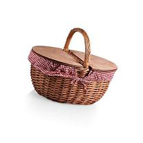 Red Checkered Willow Picnic Basket with Split-Lid Design