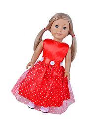 Ebuddy Red Fashion Doll Long Dresses Fits 18 Inch Girl Dolls