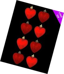8 x 5cm RED Glitter + Matt Heart Shaped Christmas Tree