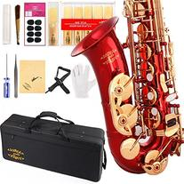 Glory Red/Gold Keys E Flat Alto Saxophone with 11reeds,8
