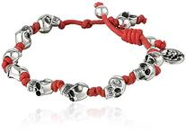 King Baby Red Knotted Cord with Small Skulls Bracelet