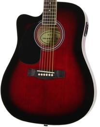 Red Full Size Thinline Acoustic Electric Guitar with Free