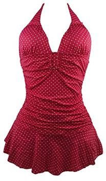 Cocoship Red and White Polka dot Retro Vintage One Piece