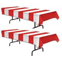 Red & White Stripe Carnival Tablecover  by happy deals
