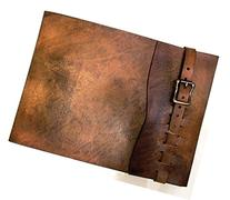 Large Refillable Leather Sketchbook with Antique Brass Metal