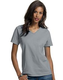 Hanes Women's Relax Fit Jersey V-Neck Tee 5.2 oz  Size:Large
