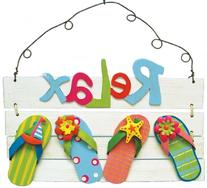 Relax Tropical Sign Flip Flops, Beach and Nautical Accent,