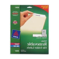 Removable Inkjet/Laser Filing Labels, 2/3 x 3-7/16, White,