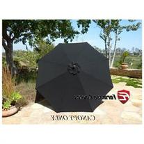 Replacement Umbrella Canopy for 9ft 8 Ribs, Black Olefin