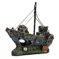 Resin Fishing Boat Aquarium Ornament Decoration For Fish