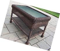 Oakland Living Resin Wicker Coffee Table, 29 by 17.5-Inch,