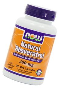 NOW Foods Natural Resveratrol, Mega Potency, 200mg, 120