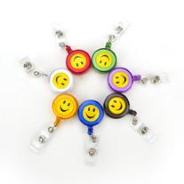 Officeship Retractable Smile Face Badge Reels 7 PCS,