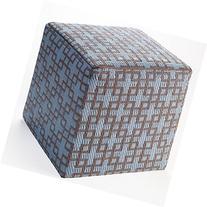 Rheinsberg Cube Pouf Powder Blue & Warm Taupe by Fab Habitat