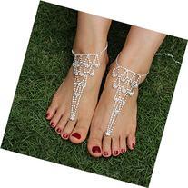 JEWSUN 2 PC Rhinestone Foot Jewelry Barefoot Sandals