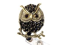 Rhinestone Owl Retractable Badge Reel/ Bling ID Badge Holder