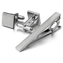 Men's Rhodium Plated Cufflinks & Necktie Tie Clip Bar Set