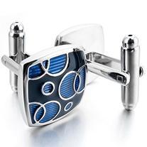 INBLUE Men's 2 PCS Rhodium Plated Enamel Cufflinks Blue