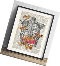 Rib Cage With Butterflies Vintage Dictionary Art Print 8x20
