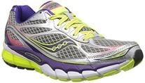 Saucony Women's Ride 7 Running Shoe,Silver/Purple/Citron,8 M